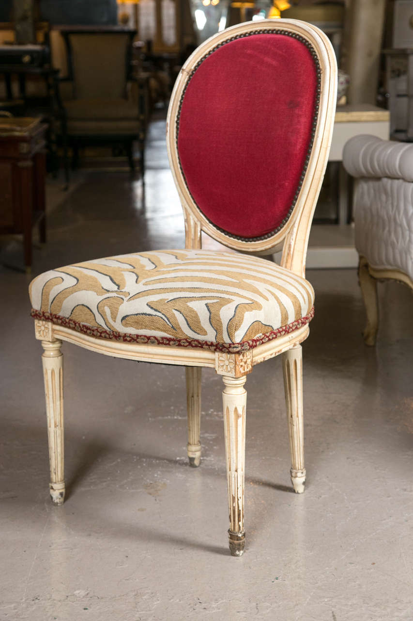 Set of Eight Hollywood Regency Style French Dining Chairs Attributed to Jansen 1