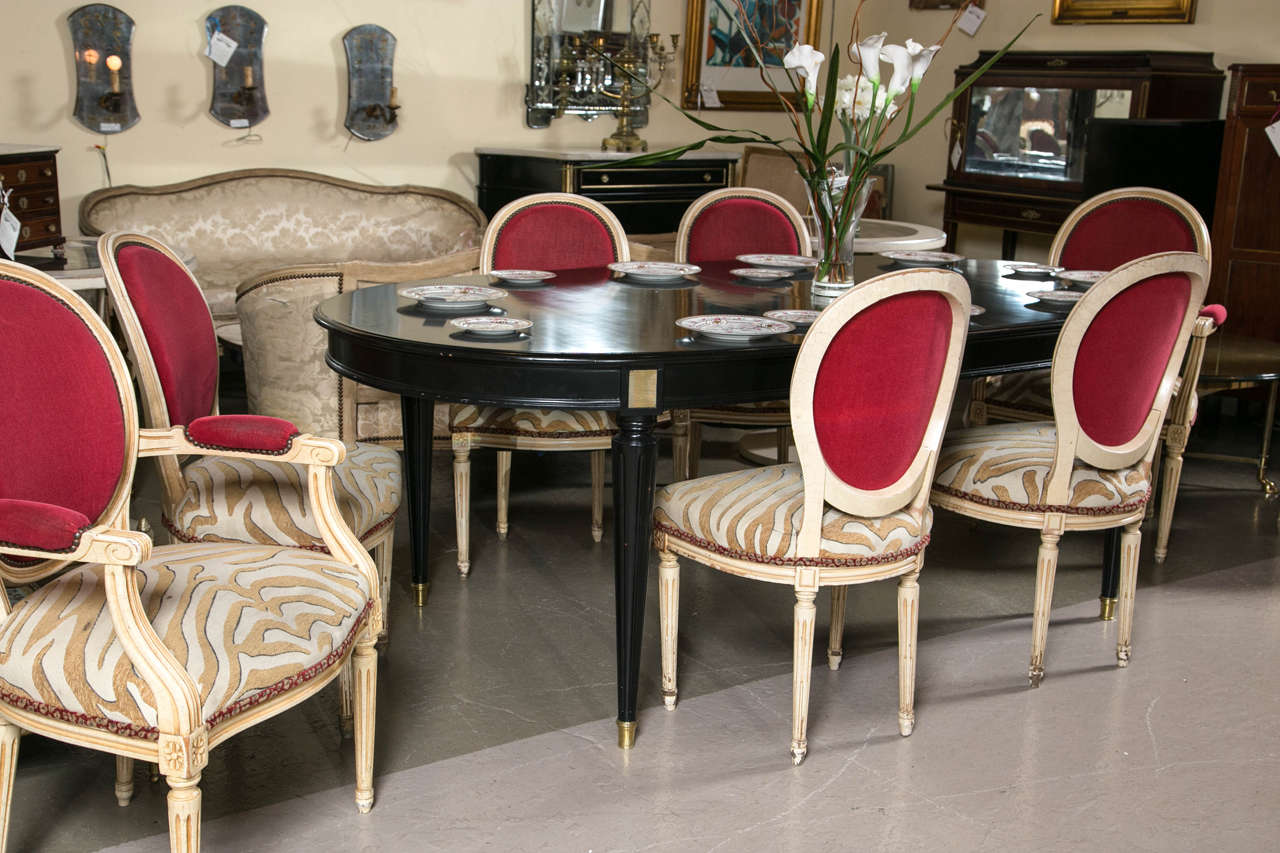 Set of Eight Hollywood Regency Style French Dining Chairs Attributed to Jansen 4