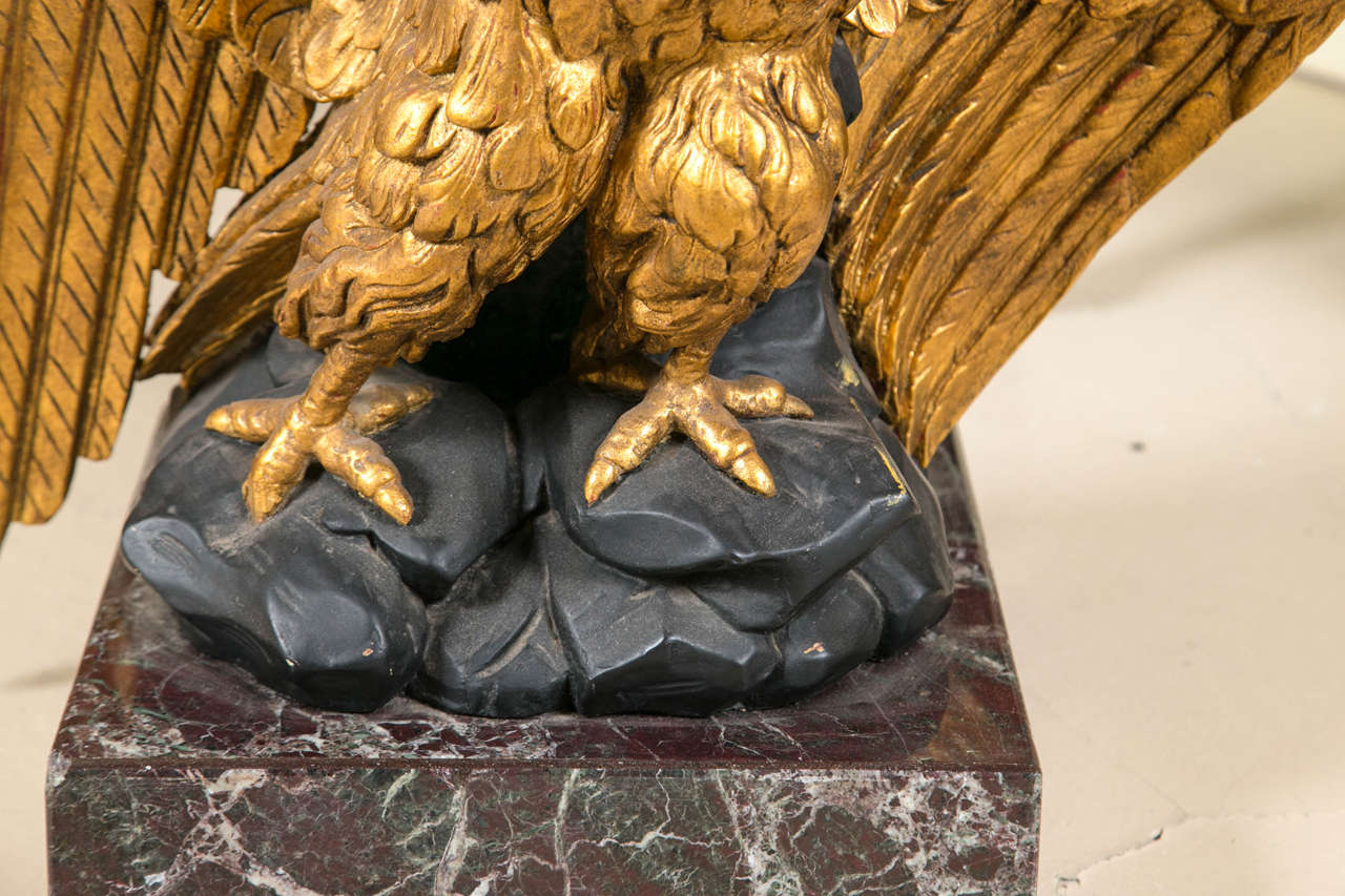 North American Federal Style Giltwood Carved Eagle Marble-Top Pedestal Table Exquisite Detail For Sale