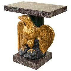 Federal Style Giltwood Carved Eagle Marble-Top Pedestal Table Exquisite Detail