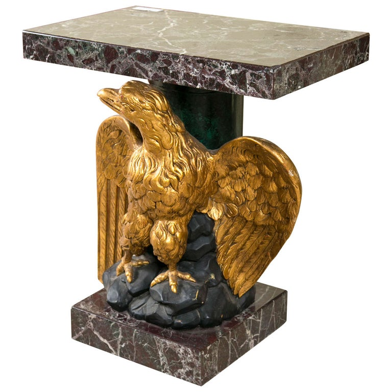 Federal Style Giltwood Carved Eagle Marble-Top Pedestal Table Exquisite Detail For Sale