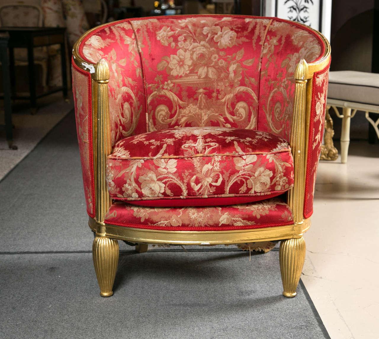 Art Deco Giltwood Barrel Back Chair At 1stdibs