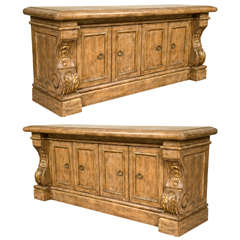 Pair of Monumental Renaissance Style Sideboards or Buffets Exquisitely Carved