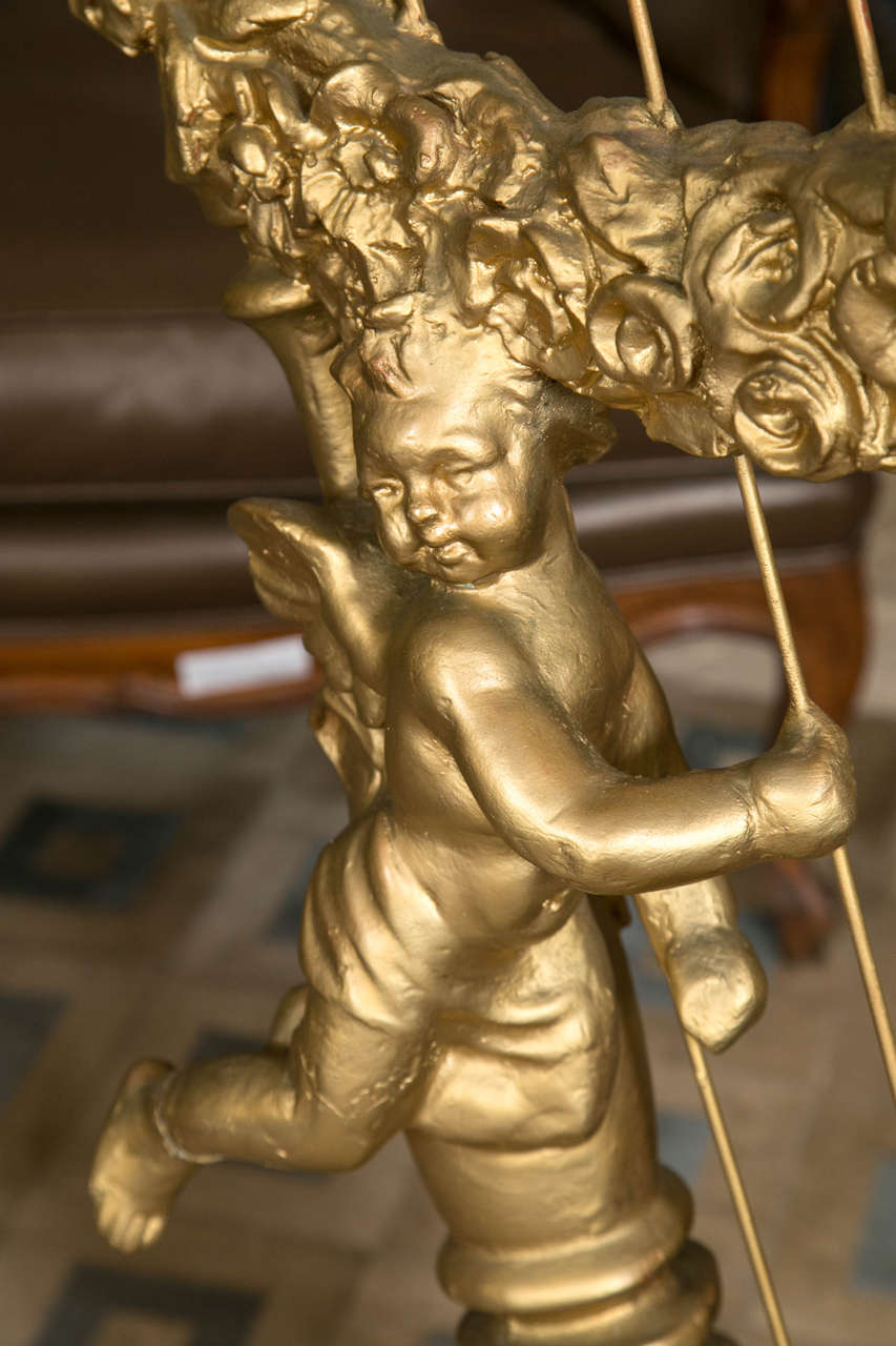 Unknown Standing Harp Sculpture Depicting Carved Angels or Putti Playing The Harp Cords For Sale