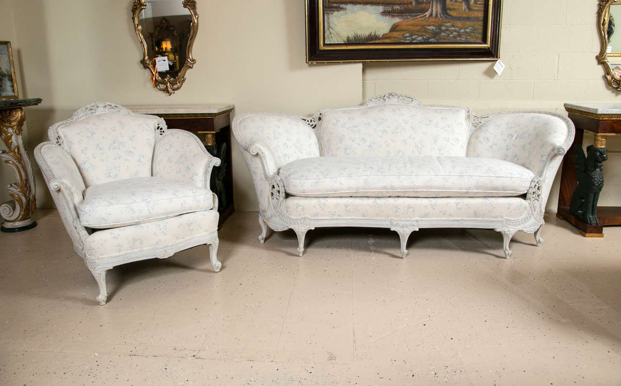 Louis XV Style Sofa with Matching Wing Chair Swedish Paint Decorated ...