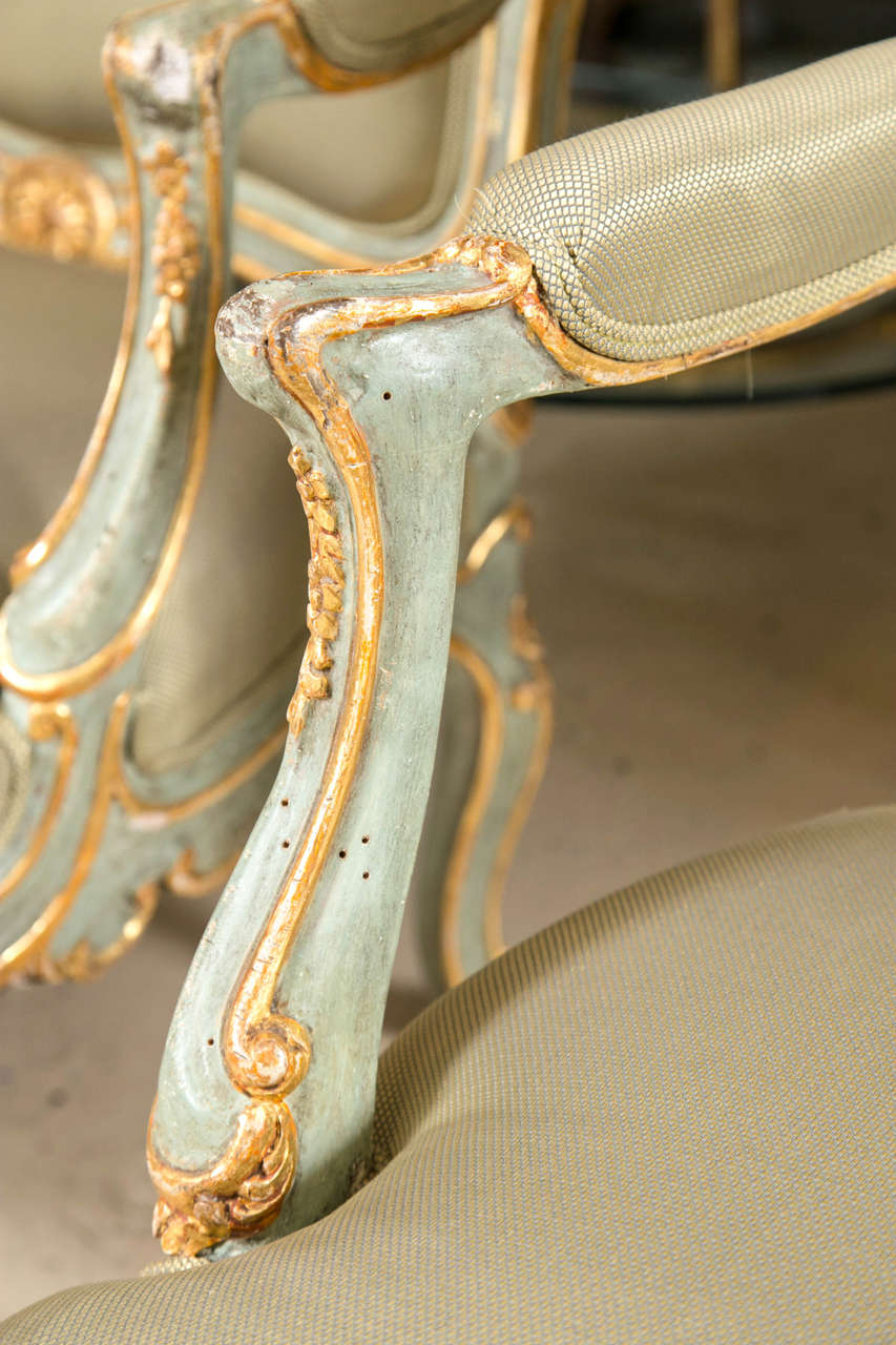 French Pair of Early 19 Century Louis XVI Style Parcel-Gilt & Paint Decorated Armchairs For Sale