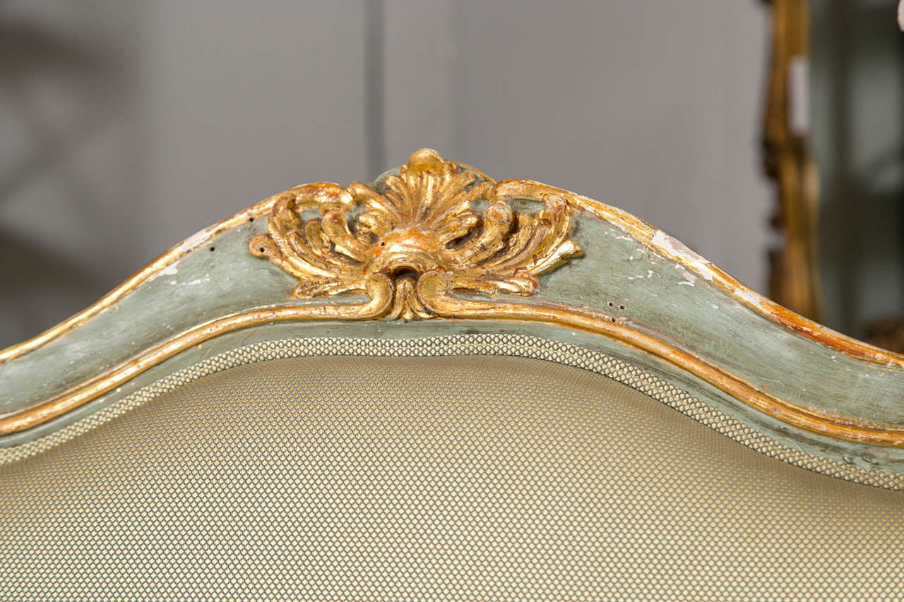 Pair of Early 19 Century Louis XVI Style Parcel-Gilt & Paint Decorated Armchairs In Good Condition For Sale In Stamford, CT