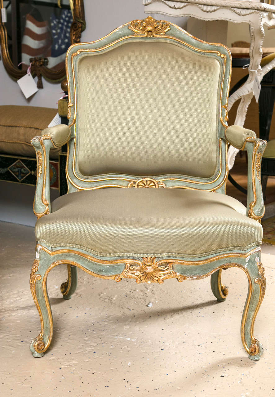 19th Century Pair of Early 19 Century Louis XVI Style Parcel-Gilt & Paint Decorated Armchairs For Sale