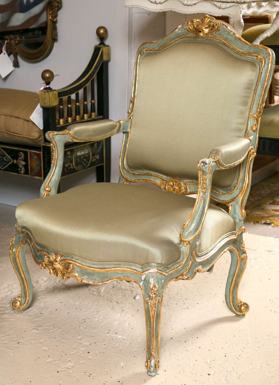 Wood Pair of Early 19 Century Louis XVI Style Parcel-Gilt & Paint Decorated Armchairs For Sale