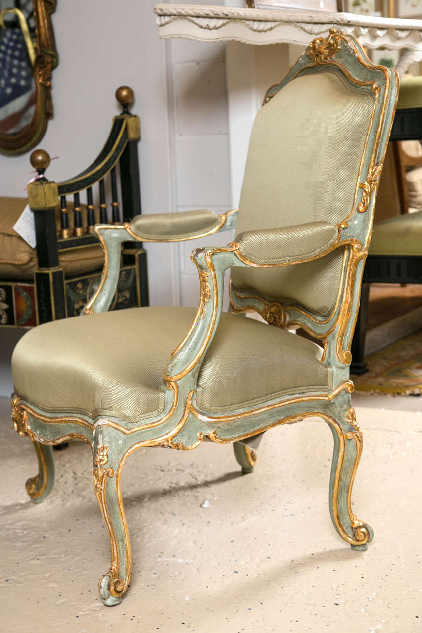 Pair of Early 19 Century Louis XVI Style Parcel-Gilt & Paint Decorated Armchairs For Sale 1