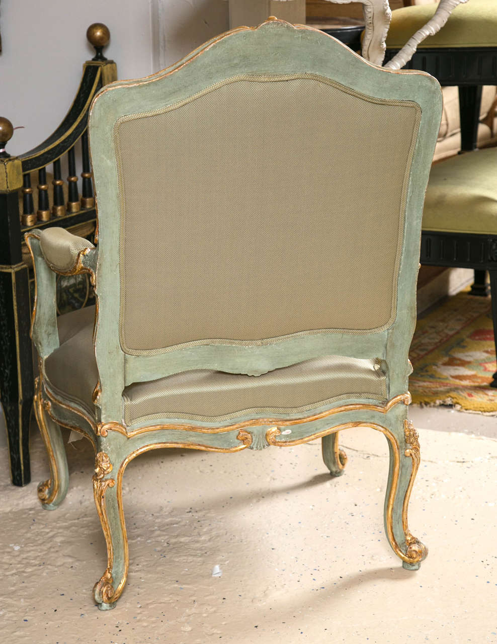 Pair of Early 19 Century Louis XVI Style Parcel-Gilt & Paint Decorated Armchairs For Sale 2