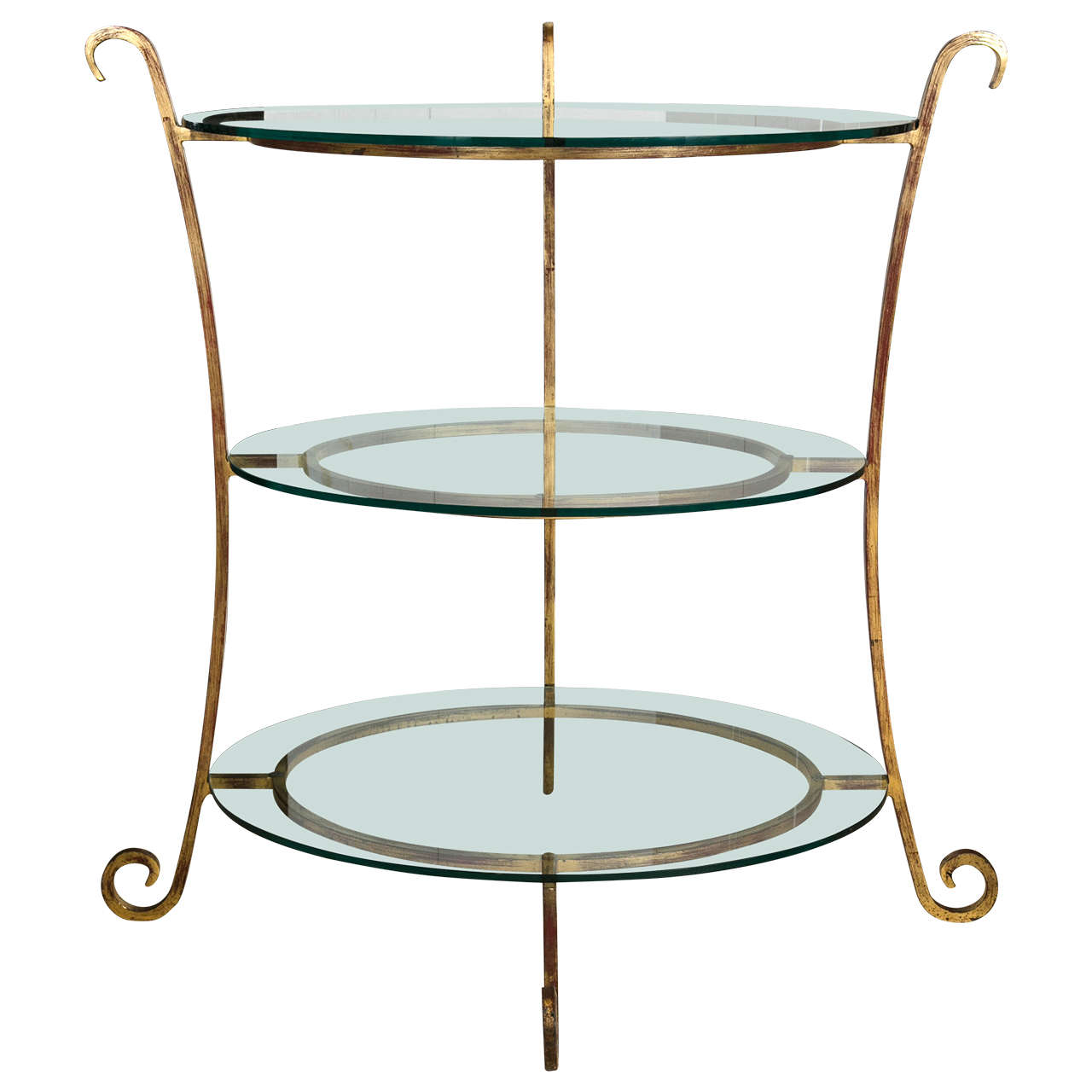 Three-Tier Glass and Gilt Metal Étagère Server or Stand Hollywood Regency Style
