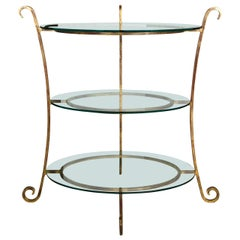 Three-Tier Tall Wide Glass and Gilt Metal Étagère Server Hollywood Regency Style