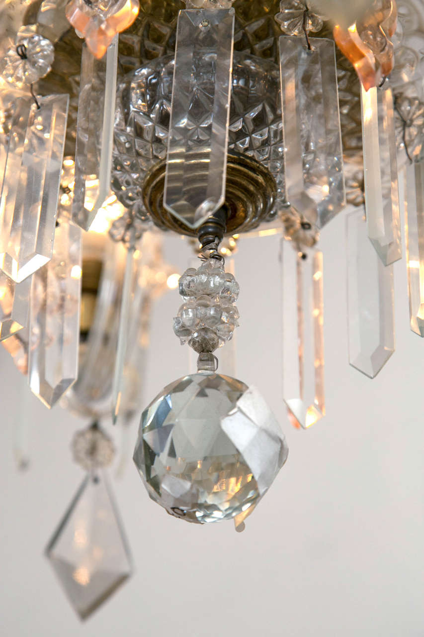 Venetian Crystal Chandelier with Large Crystals 1920s Six Light Rare Scroll Arms In Good Condition For Sale In Stamford, CT