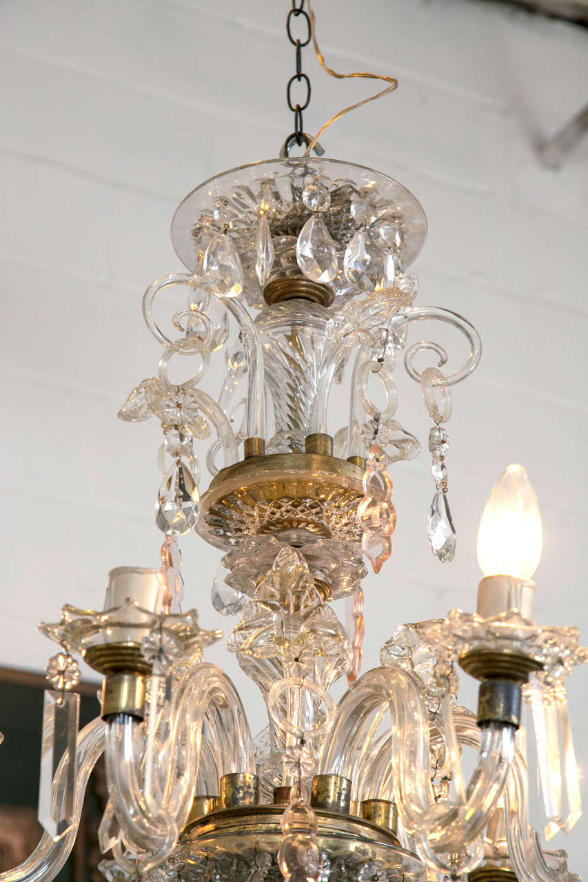 Venetian Crystal Chandelier with Large Crystals 1920s Six Light Rare Scroll Arms For Sale 2