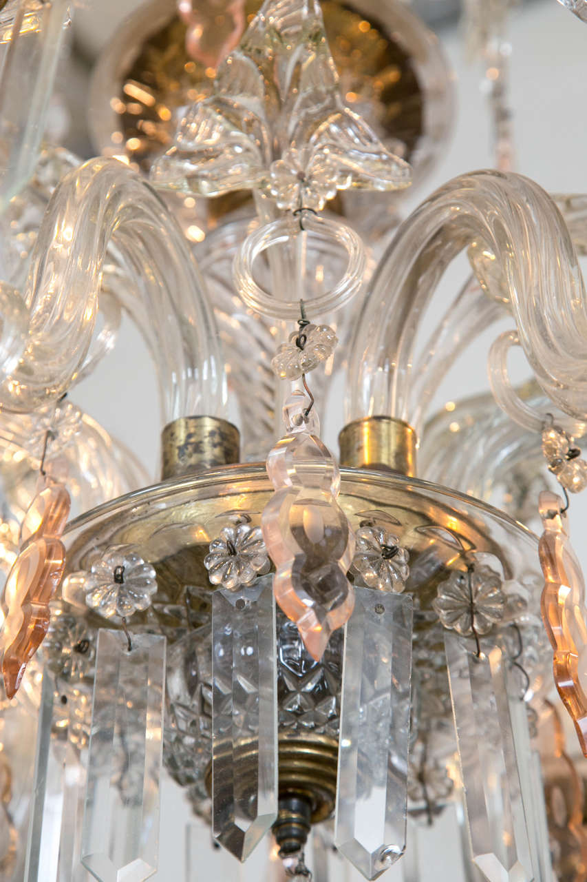 Venetian Crystal Chandelier with Large Crystals 1920s Six Light Rare Scroll Arms For Sale 3