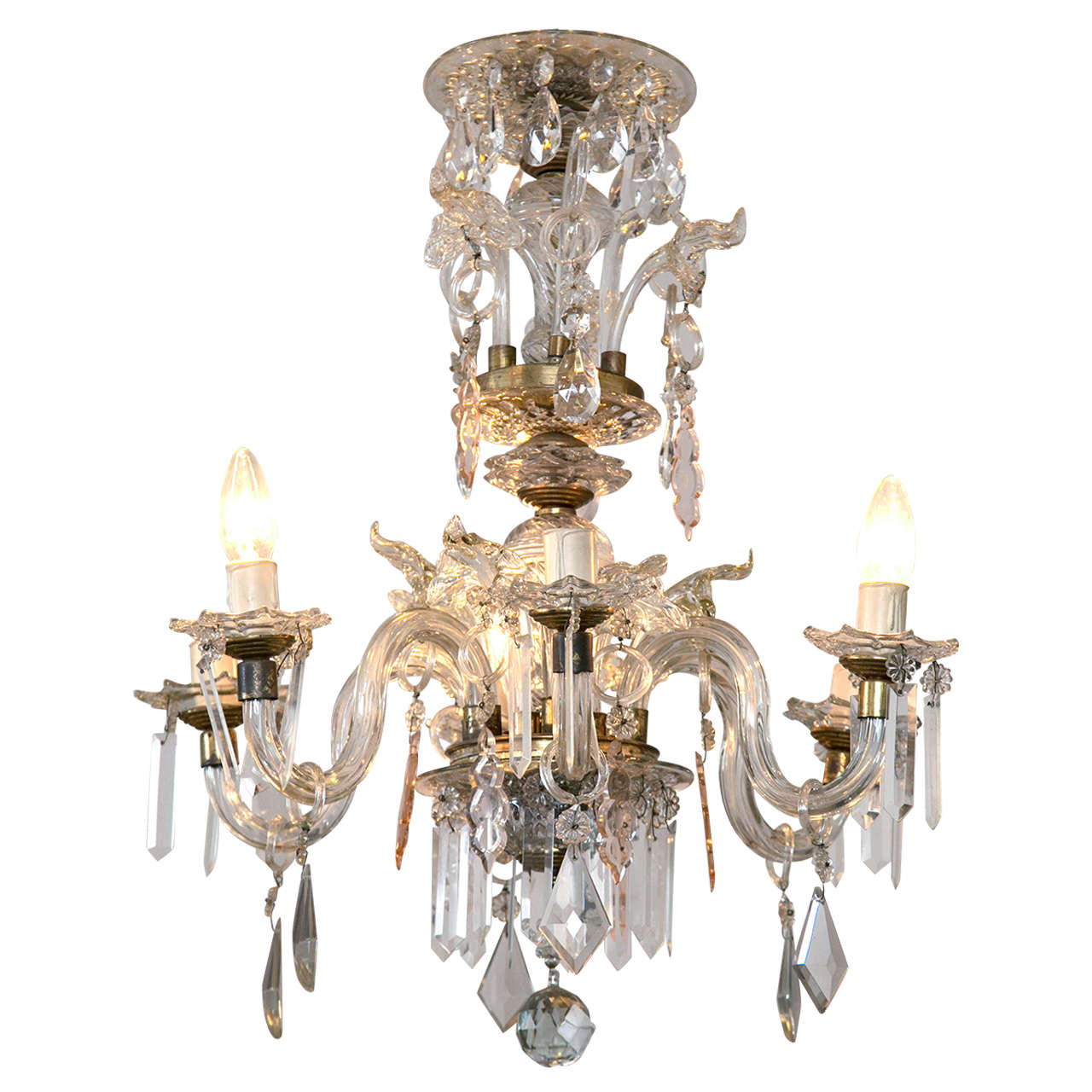 Venetian Crystal Chandelier with Large Crystals 1920s Six Light Rare Scroll Arms
