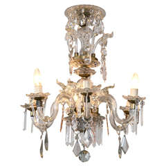 Venetian Crystal Chandelier with Large Crystals Vintage