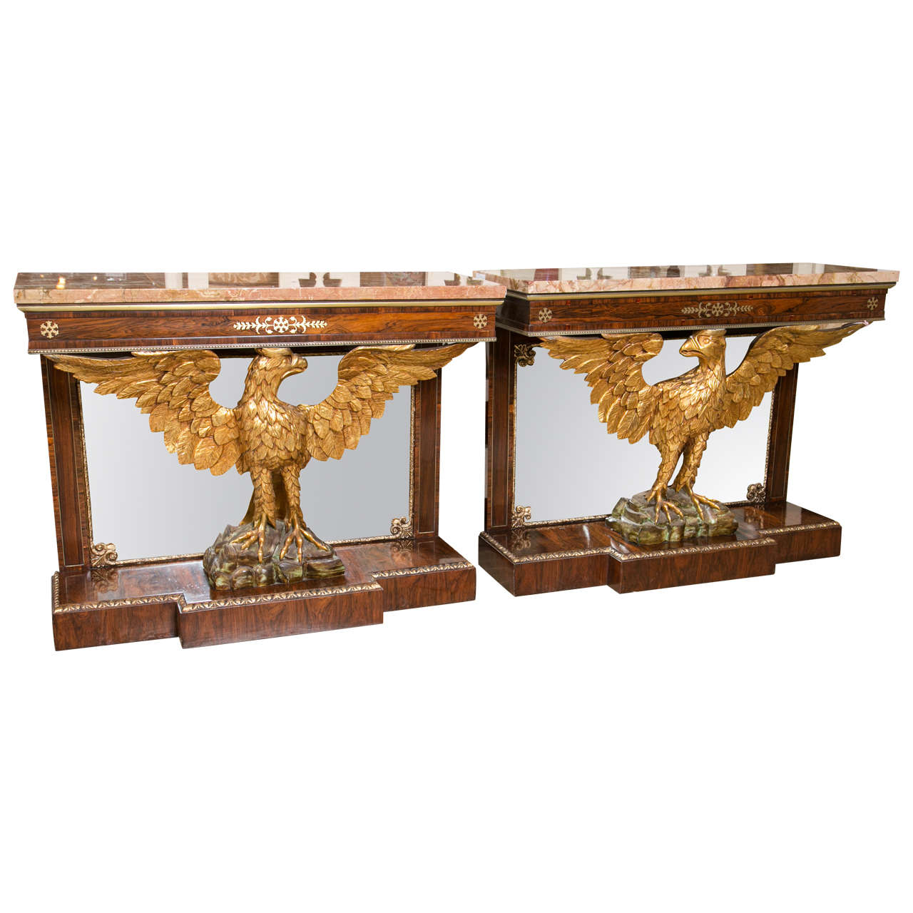 Pair Of 19th Century Federal Style Gilt Opposing Eagle Console Tables 1