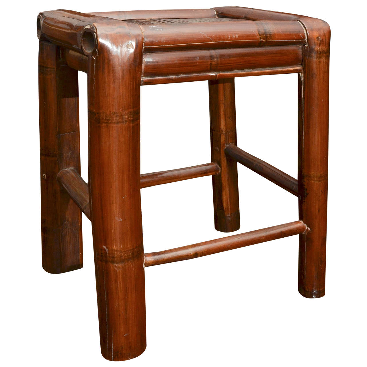 Late 19th Century Qing Dynasty Ningbo Woven Bamboo Stool