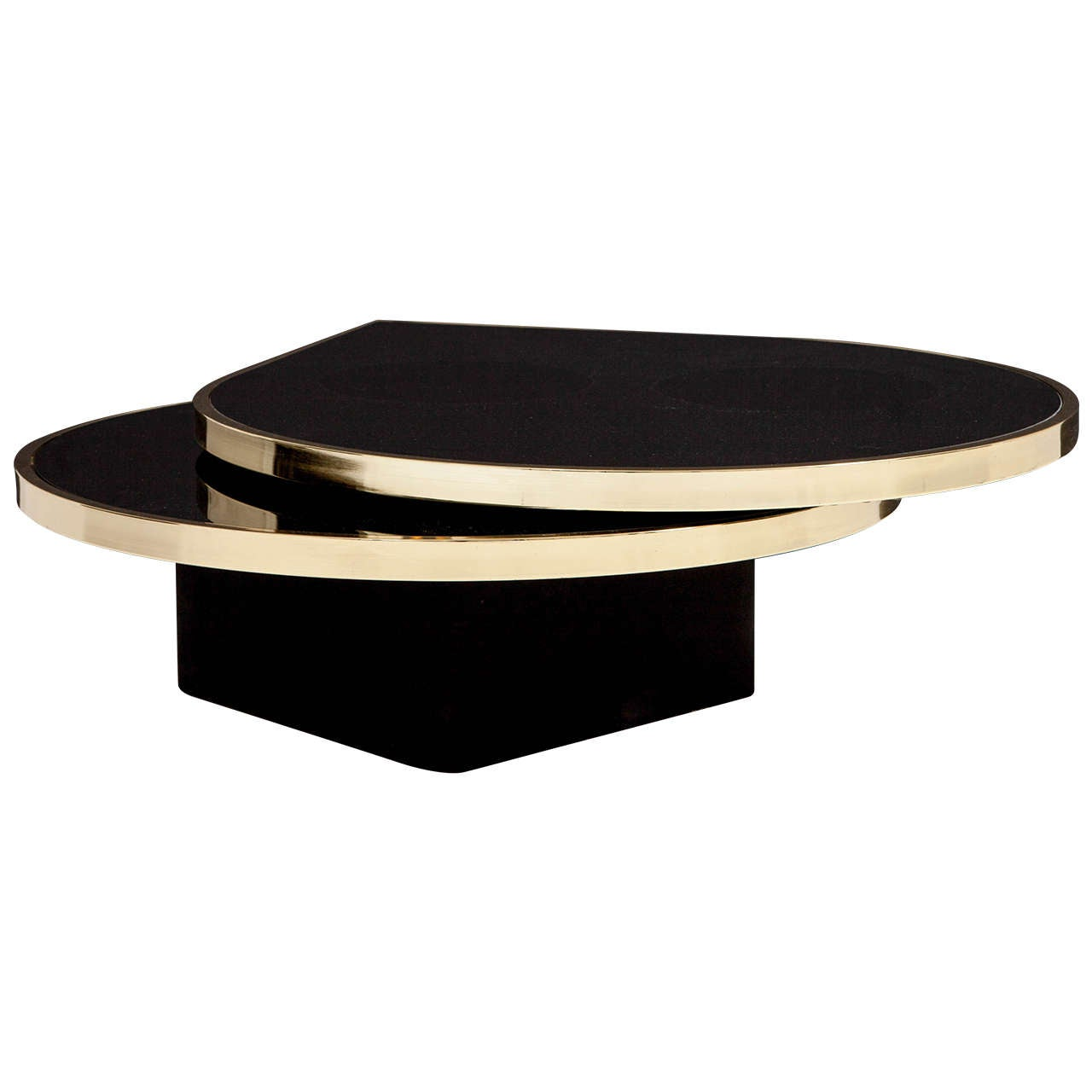 Black Glass And Brass Teardrop Swivel Cocktail Table By Dia Signed At 1stdibs