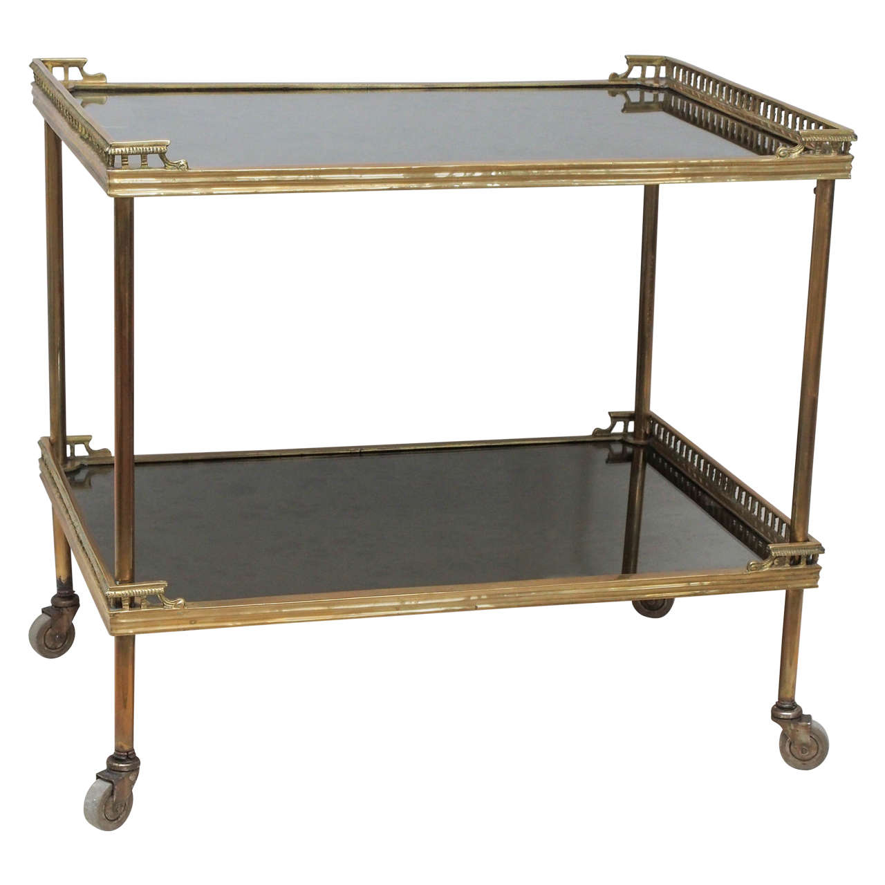 Vintage Bar Cart >> French Vintage Bar Cart Or Side Table In Solid Brass