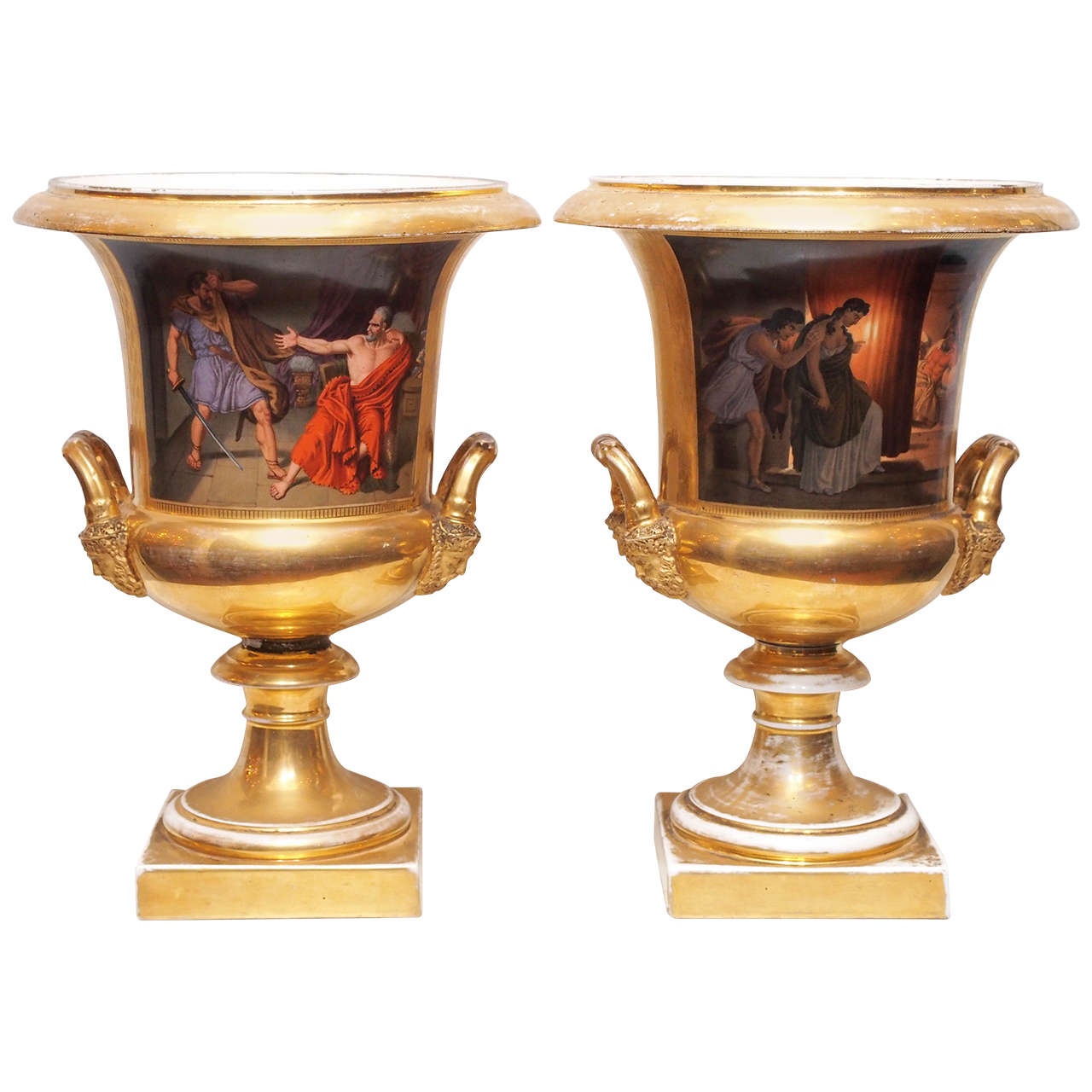 Pair of Vieux Paris Porcelain Campagna Urns