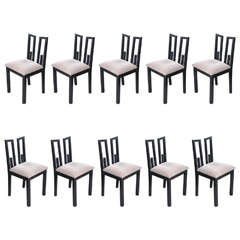Set of Ten Greek Key Dining Chairs by James Mont