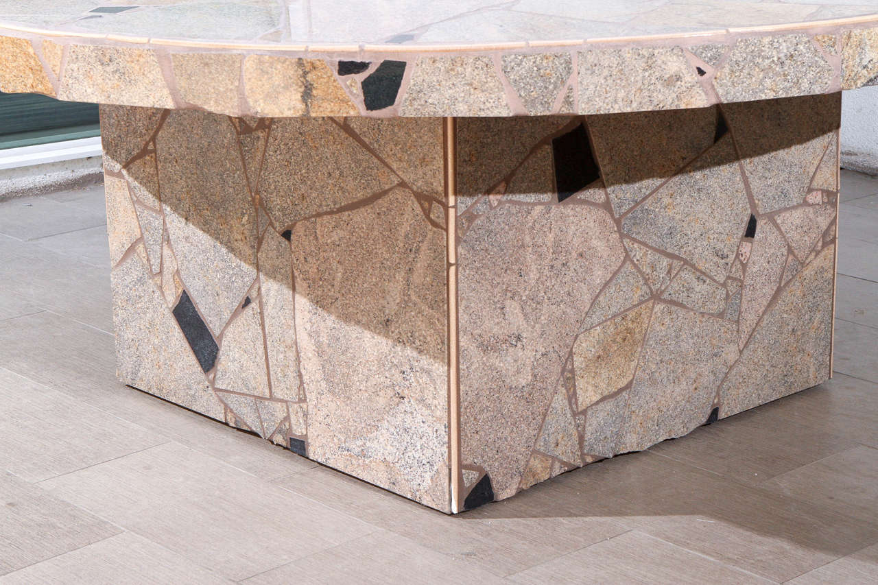 fabulous stone mosaic outdoor dining table by marlo