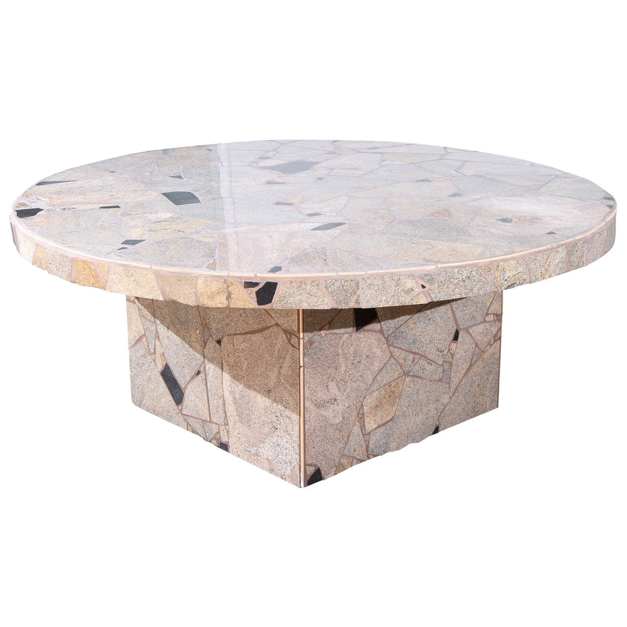 fabulous stone mosaic outdoor dining table by marlo bartels for steve chase at 1stdibs. Black Bedroom Furniture Sets. Home Design Ideas