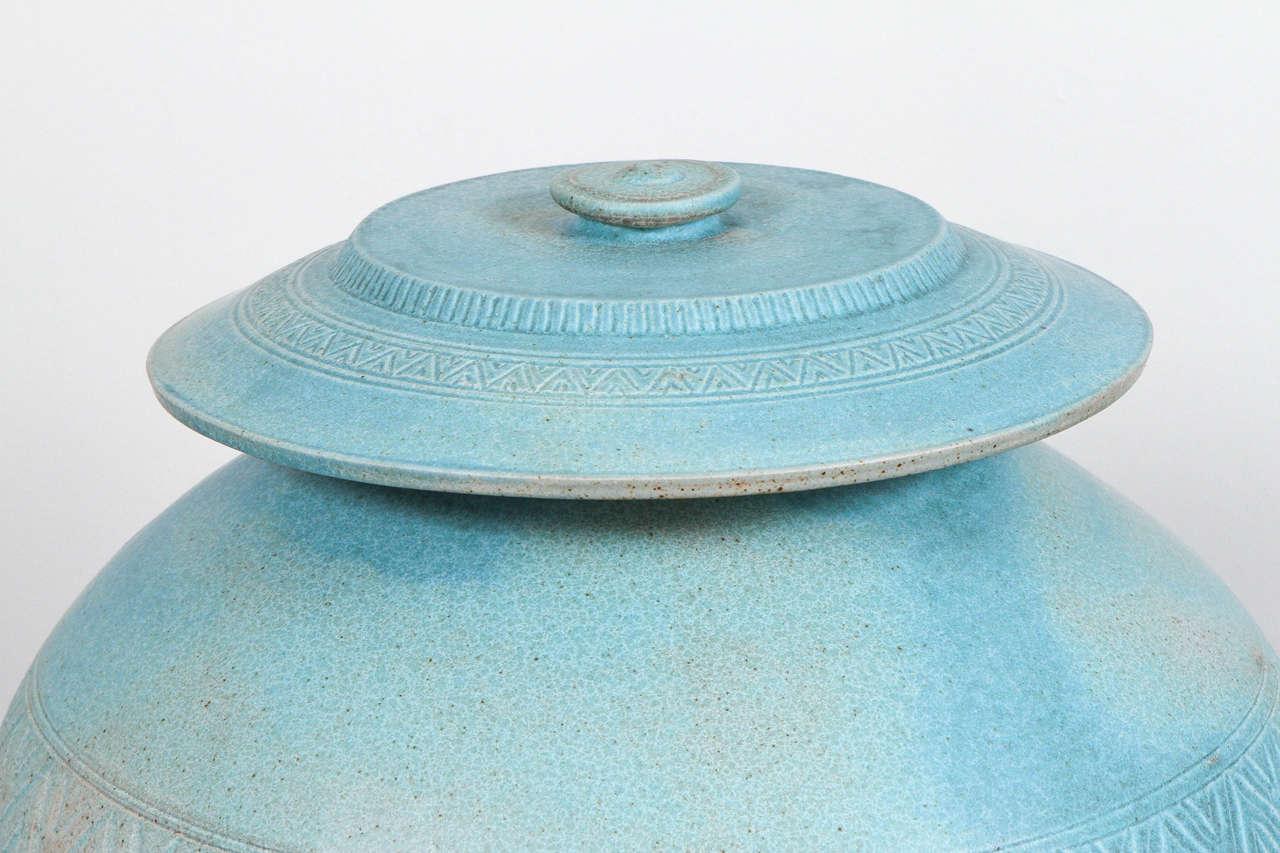 American Monumental Lidded Amphora Style Ceramic Vessel, Custom for Steve Chase For Sale