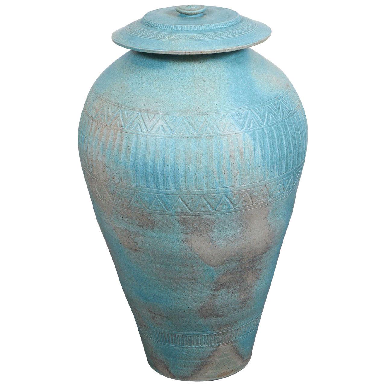 Monumental Lidded Amphora Style Ceramic Vessel, Custom for Steve Chase For Sale