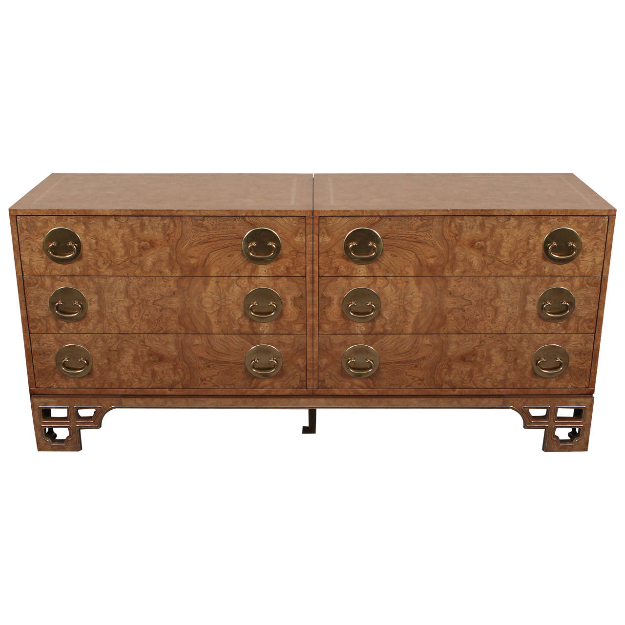 Beautiful Oriental Style Burl Wood Chest of Drawers by Mastercraft