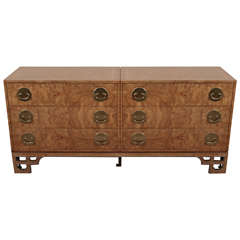 Beautiful Oriental Style Burlwood Chest of Drawers by Mastercraft