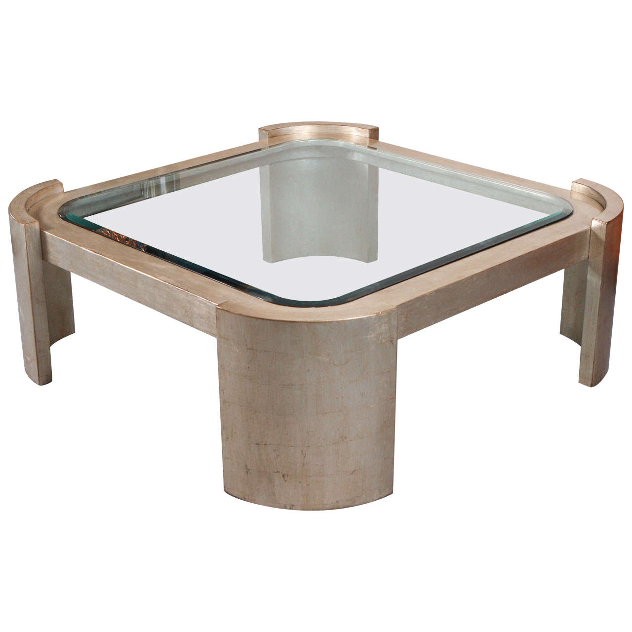 Large coffee table with a beautiful glazed silver leaf for Beautiful coffee tables
