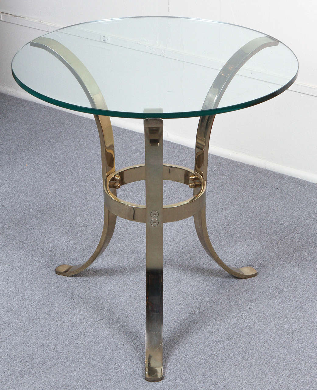 Graceful Brass and Glass Tripod Side Table 2