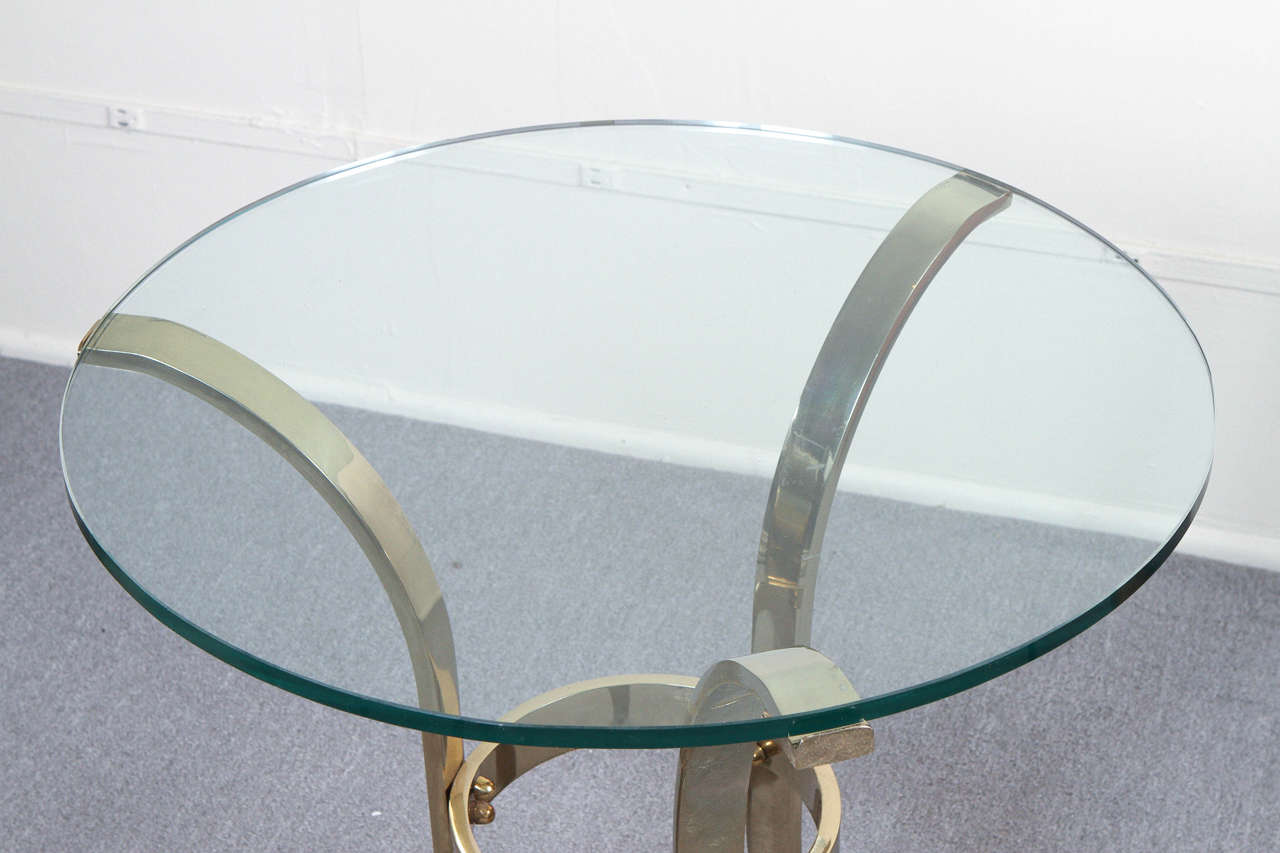Graceful Brass and Glass Tripod Side Table 3