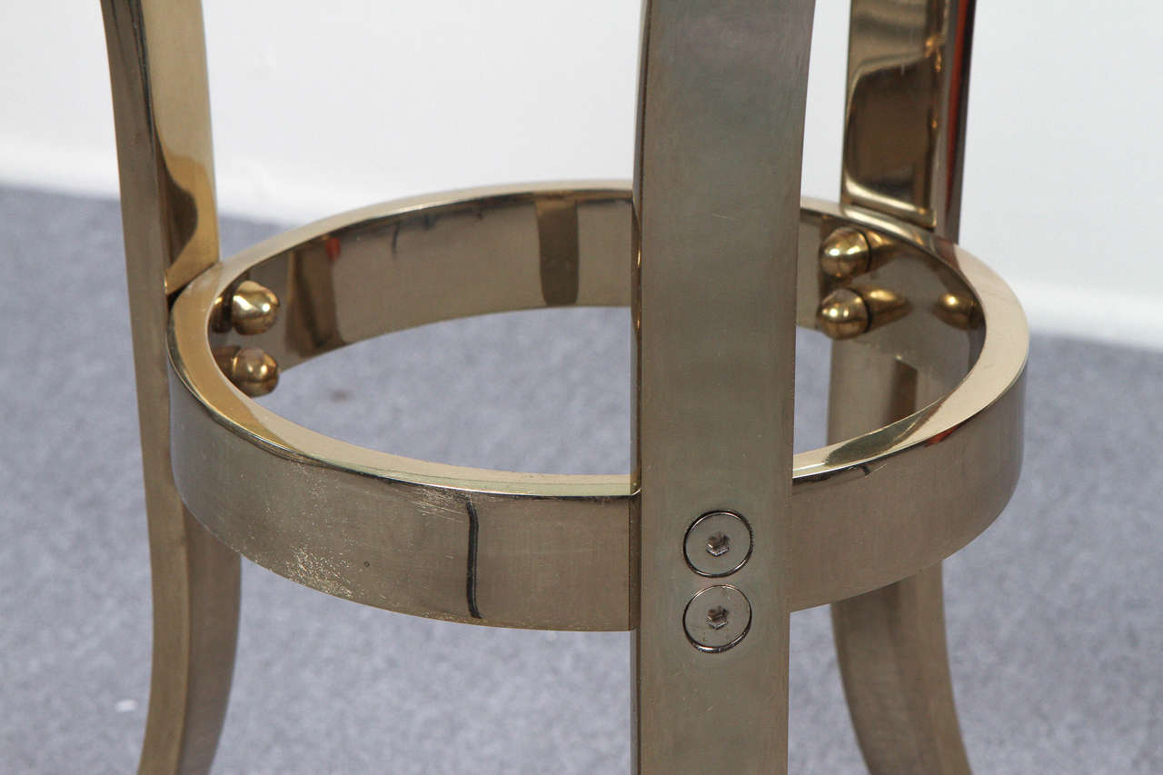 Graceful Brass and Glass Tripod Side Table 7