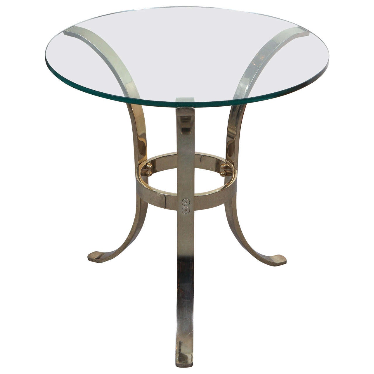 Graceful Brass and Glass Tripod Side Table 1