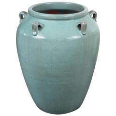Monumental Amphora Style Vase with Glossy Jade Glaze