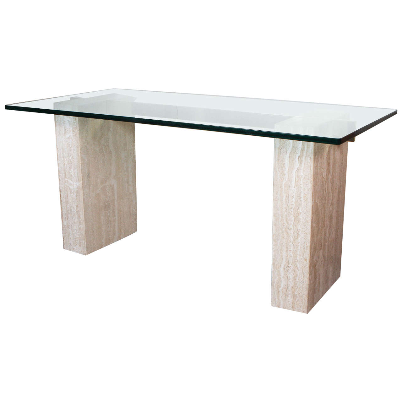 Travertine and glass dining table, 1980s