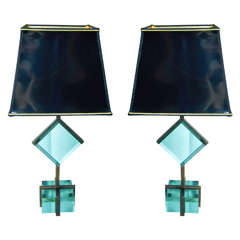 Impactful Pair of Murano Glass Table Lamps by Vistosi, 1960s