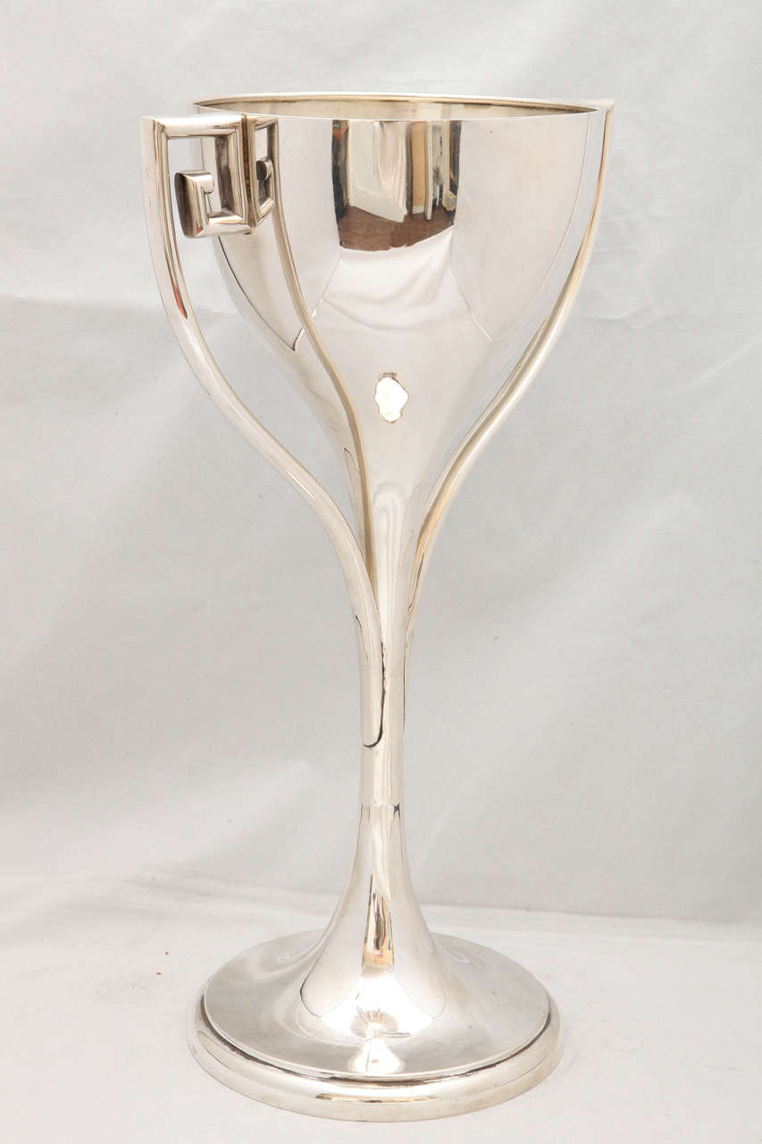 Large, sterling silver, Art Deco Trophy Cup, Simons Bros. Co., Philadelphia, circa 1920. Measures: 15 1/2