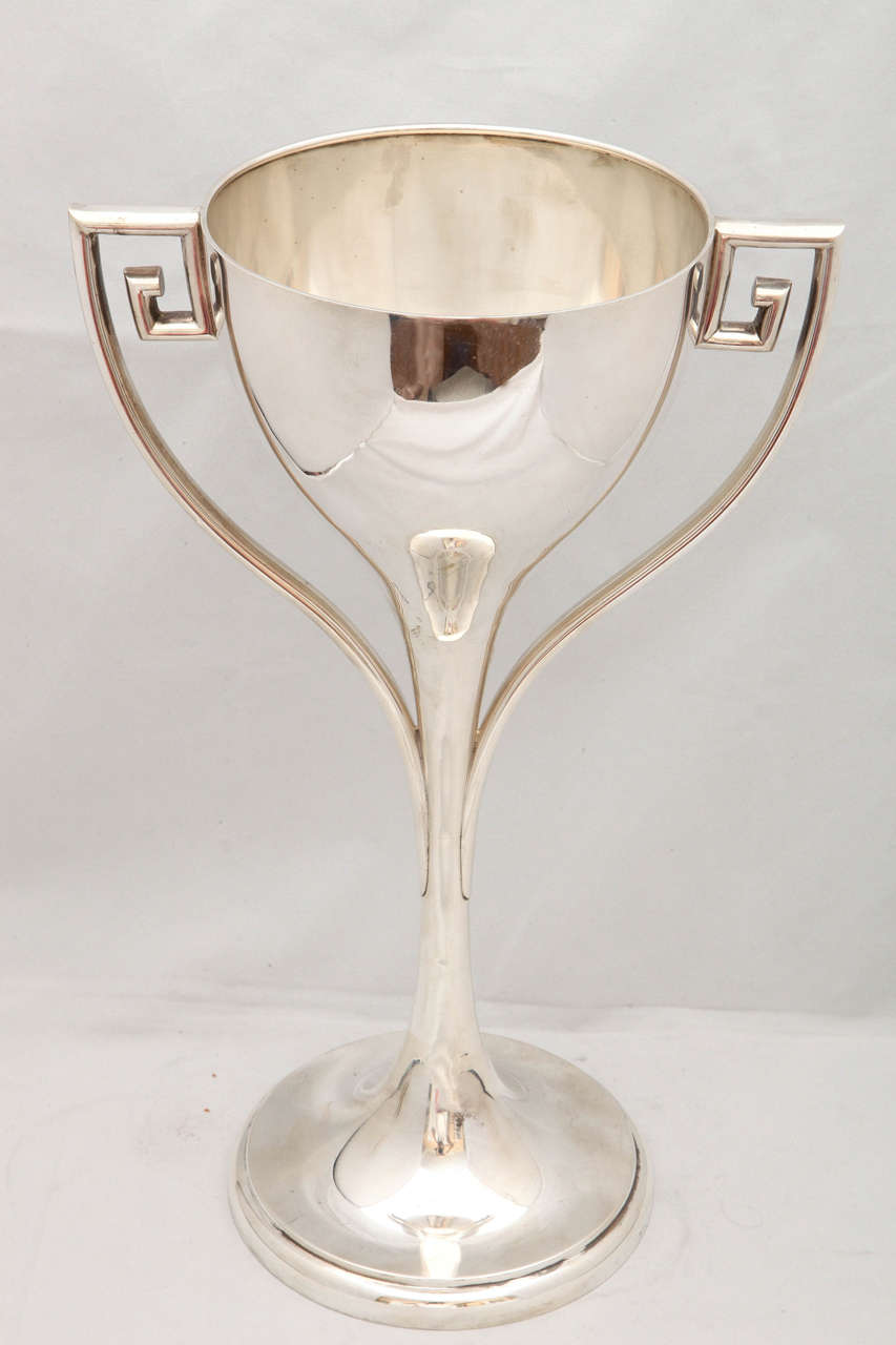 Large Art Deco Sterling Silver Trophy Cup For Sale 2