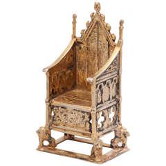 Edwardian Sterling Silver Gilt Coronation Throne
