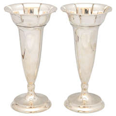 Pair of Continental Silver Norwegian Vases