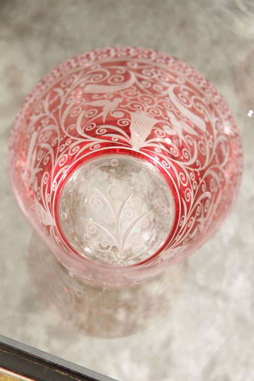 Blown Glass Ice Bucket, Red Crystal, Baroque Style, in Stock, Contemporary For Sale