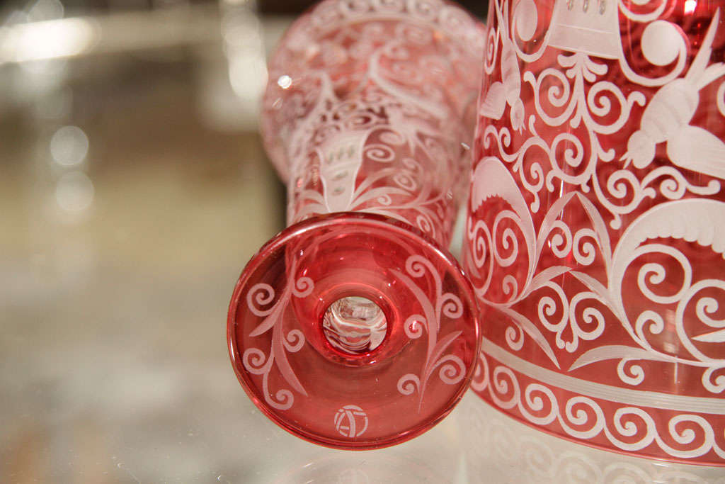 Ice Bucket, Red Crystal, Baroque Style, in Stock, Contemporary For Sale 2