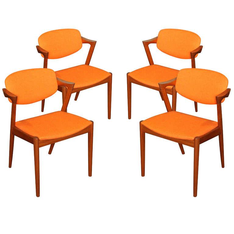 Set of 4 Teak and Orange Dining Chairs by Kai Kristiansen