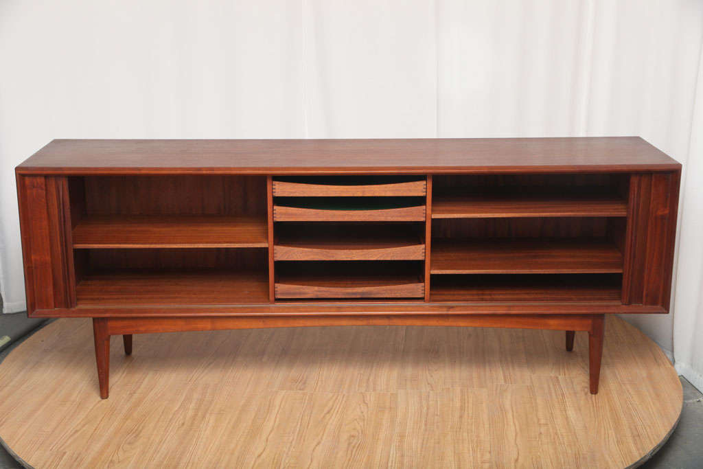 20th Century Danish Sideboard with Tambour Doors For Sale